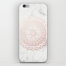 Rose gold mandala and grey marble iPhone Skin