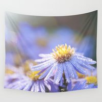 biology Wall Tapestries featuring Blue Aster in LOVE I by UtArt