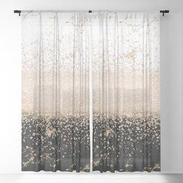 Elegant rose gold confetti marble design Sheer Curtain