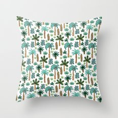 Tropics palm trees pattern print summer tropical vacation design by andrea lauren Throw Pillow