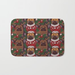 Christmas Party With The Pug Bath Mat