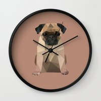 pug Wall Clocks featuring Pug by Diana D'Achille