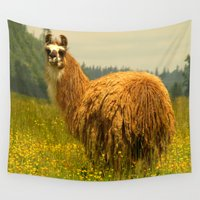 llama Wall Tapestries featuring Llama by Nature In Art...