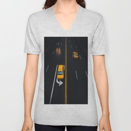 Taxi on the Street (Color) Unisex V-Neck