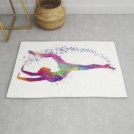 Gymnastics Tumbling Colorful Watercolor Artwork Rug