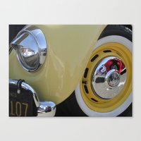 volkswagon Canvas Prints featuring Yellow Love Bug by wildVWflower