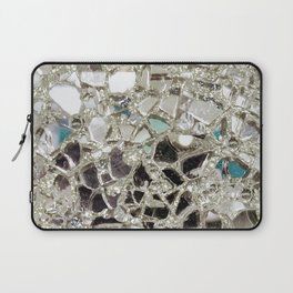 An Explosion of Sparkly Silver Glitter, Glass and Mirror Laptop Sleeve