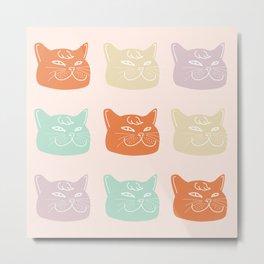 British Shorthair Cat Multi Colors Pattern Metal Print