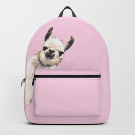 Sneaky Llama in Pink Backpack