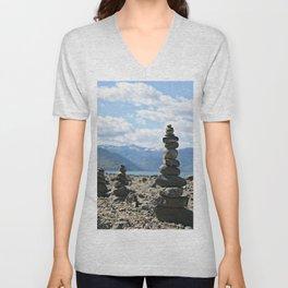 Chelan Rock Stacks Unisex V-Neck