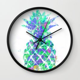 pineapple in green blue yellow with geometric triangle pattern abstract Wall Clock