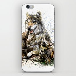 Good Morning wolf family watercolor iPhone Skin