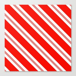 Candy Cane Stripes Holiday Pattern Canvas Print