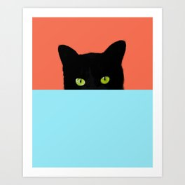 Black Hidden Cat Red Art Print