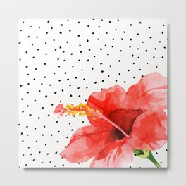 Tropical flower on dots Metal Print
