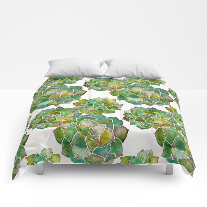 Rosette Succulents – Green Palette Comforters