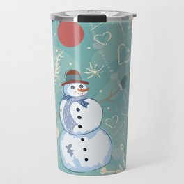 Seamless Winter Pattern with Christmas Ornaments Travel Mug