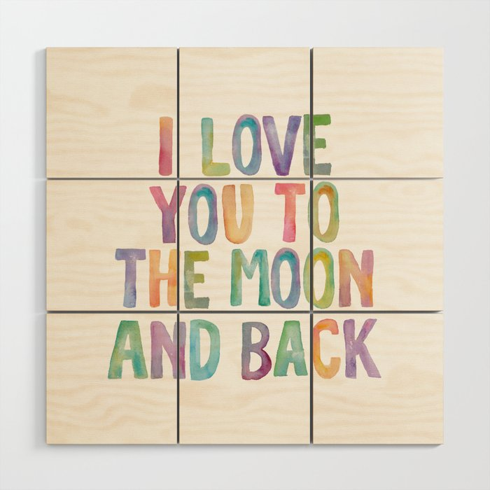 I Love You To The Moon and Back Watercolor Rainbow Design ...
