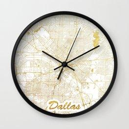 Dallas Map Gold Wall Clock