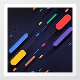 Multicolor shapes on black backround Art Print