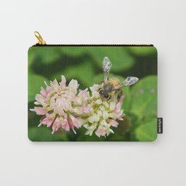 Honey Bee Bumble Bee Queen Bee on Pink Clover Flower Bee Insect Bugs 4 Leaf Clover Photograph Photo  Carry-All Pouch