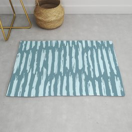 Vertical Dash Turquoise on Teal Blue Rug