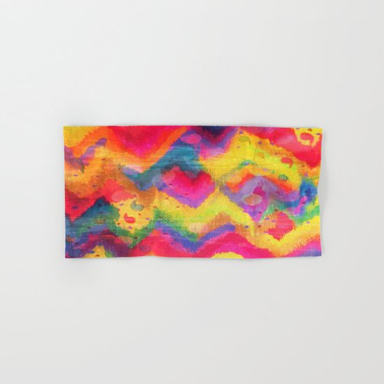BOLD QUOTATION in NEONS 2 - Intense Rainbow Abstract Watercolor Art Painting Dream Pink Ikat Pattern Hand & Bath Towel