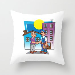 handyman handshake, Throw Pillow