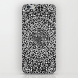 Gray colors mandala Sophisticated black and white ornament iPhone Skin