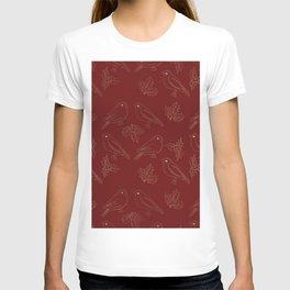 Christmas red gold foil ivy cute robin bird T-shirt