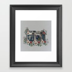 Camera with Summer Flowers Framed Art Print