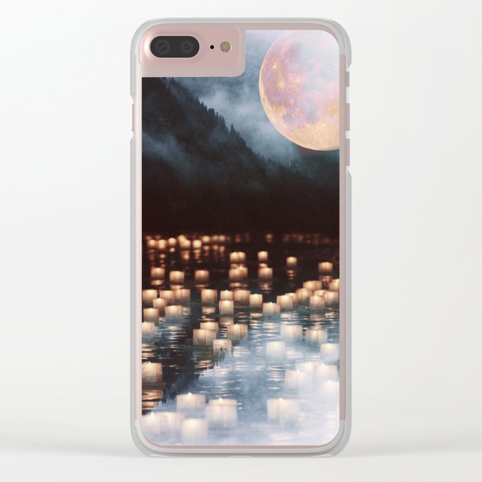 Fantasy lake with moonlight Clear iPhone Case