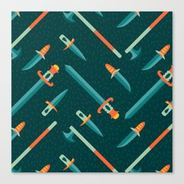 Wild Weapons Swords and Knives Pattern Canvas Print