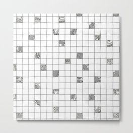 Abstract background with black and white crossword grid Metal Print