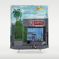 hollywood Shower Curtains featuring Chipotle - Hollywood by Jake Hollywood