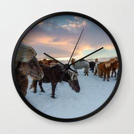 Iceland Horses Wall Clock