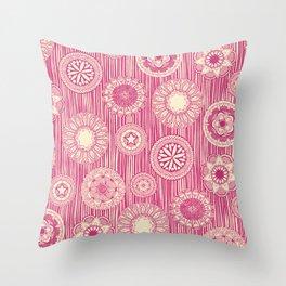 mandala cirque spot pink cream Throw Pillow