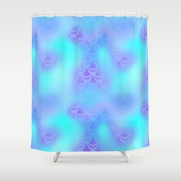 Cyan Blue and Violet Mermaid Tail Abstraction. Magic Fish Scale Pattern Shower Curtain