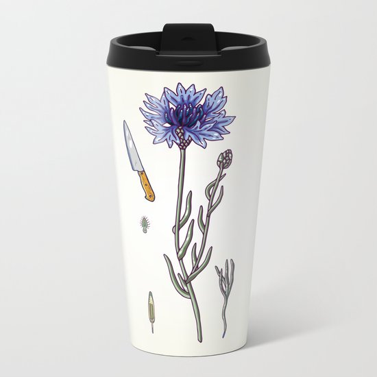 blue cornflower and knife Metal Travel Mug