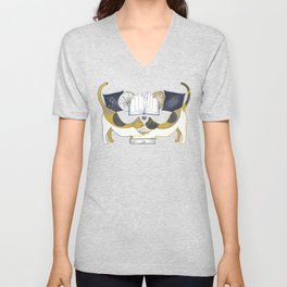 A Comforting Cup of Coffee in The Cozy Company of Cats - Caturday Reading Unisex V-Neck