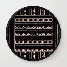 Vintage Black and Tan Pattern Wall Clock