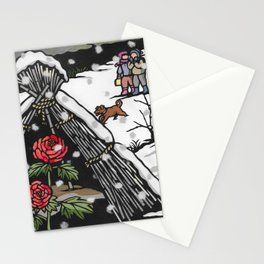 Peonies in snow Stationery Cards