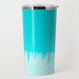 Modern turquoise ombre white abstract watercolor brushstrokes Travel Mug