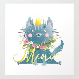 Meow Cute Funny Cat with Lettering Art Print