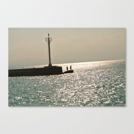 Silhouettes on the Corinth Canal Canvas Print