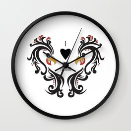 I Love Cock Fighting Wall Clock