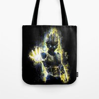 dbz Tote Bags featuring The Prince of all fighters by Barrett Biggers