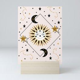Smiling sun and celestial elements Mini Art Print