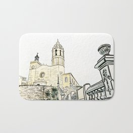 Stairs to the Beach from a medieval Church in Sitges near Barcelona Bath Mat