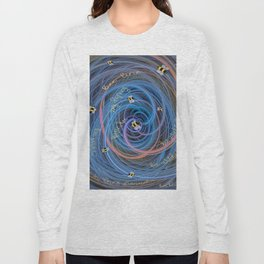 Bees Swarm Vortex Typography by OLena Art Long Sleeve T-shirt